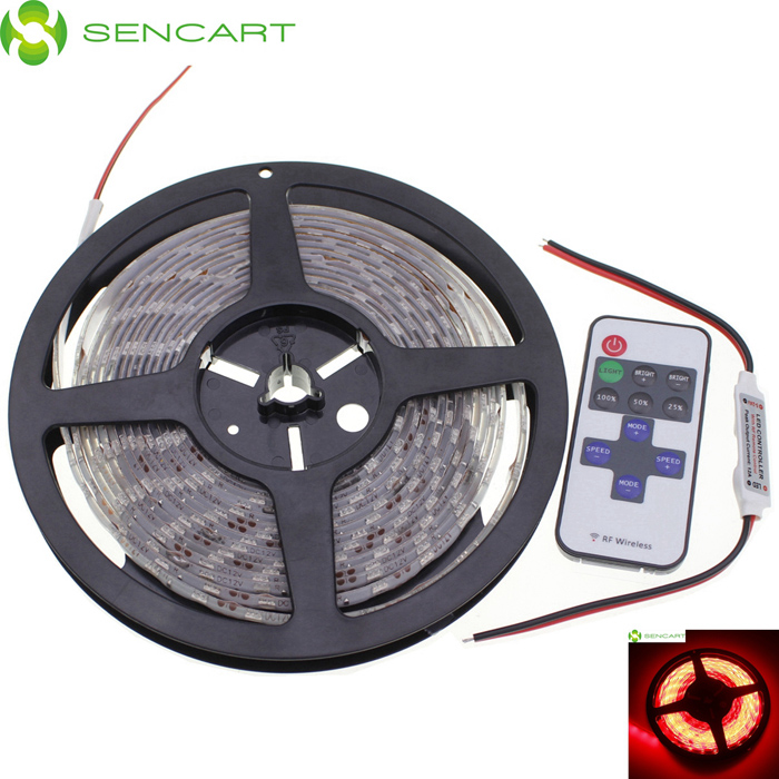 SENCART Waterproof 72W 170lm 700nm 300-SMD 5050 LED Red Light Strip - White (DC 12V / 5M) zdm waterproof 72w 200lm 470nm 300 smd 5050 led blue light strip white grey dc 12v 5m