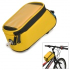 "ROSWHEEL 12496L-CF5 5.5"" Bike Bicycle Frame Top Tube Bag w/ Audio Cable - Yellow"