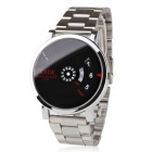 Y71 Unisex Binary Display Black Dial Silver Alloy Band Wrist Watch - Silver
