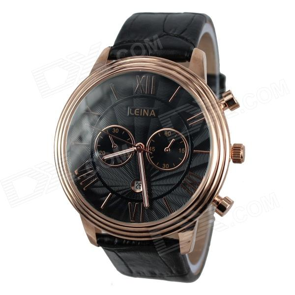 LEINA Men's Business Style PU Leather Band Analog Quartz Wrist Watch - Black bobo bird monkey watch wooden relojes quartz men watches casual wooden color leather strap watch wood male wristwatch for gift