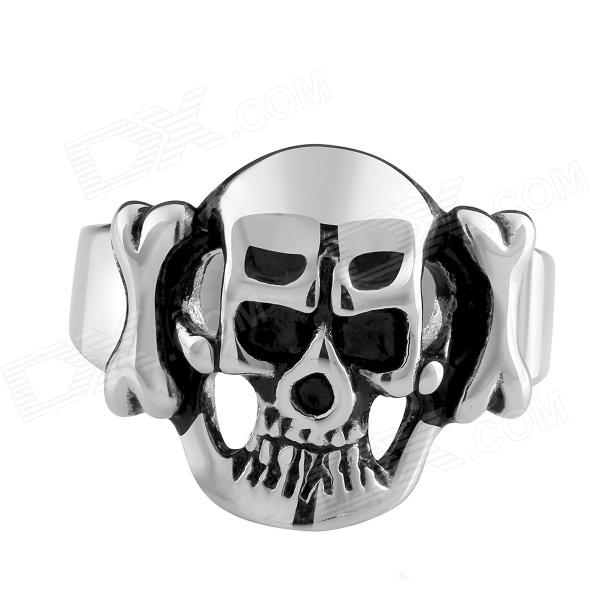 R007 Creative Retro Skull Style Stainless Steel Ring - Silver + Black (US Size: 8) european and american retro rock style cross titanium steel ring silver us size 8