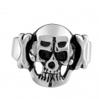 R007 Creative Retro Skull Style Stainless Steel Ring - Silver + Black (US Size: 8)
