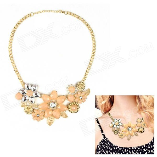 eQute Women's Fashionable Showy Flower Style Pendant Necklace - Golden + Pink gorgeous 60cm length golden thick braided wheat chain necklace for men