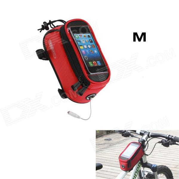 Roswheel Saddle Touch Screen Bag w/ Earphone Hole for Cell Phone - Red (Size M)