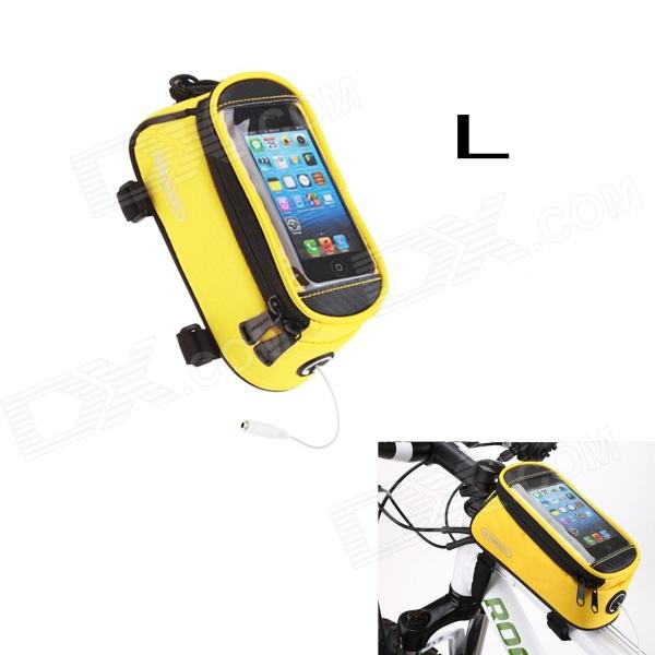 Roswheel Saddle Touch Screen Bag w/ Earphone Hole for Cell Phone - Yellow (Size L)