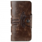 Men's Casual Style Split Leather Long Wallet w/ Card Slots / Photo Slot - Coffee