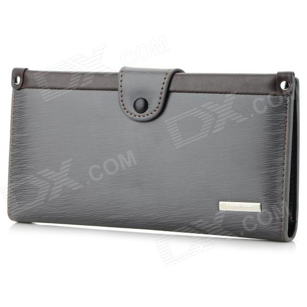 LX-MQB71 Men's Fashion PU Leather Long Style Wallet - Deep Grey