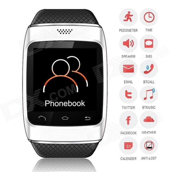 ZGPAX S12 Bluetooth V3.0 Sports Smart Watch w/ 1.54 Screen, Sync Android Phone, Pedometer - White u80 smart watch with pedometer function