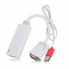VGA to HDMI HDTV Converter w/ USB Cable - White + Red