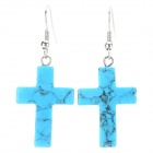 SZJEH001 Women's Fashion Copper + Blue Turquoise Cross Style Earrings - Silver + Blue (Pair)