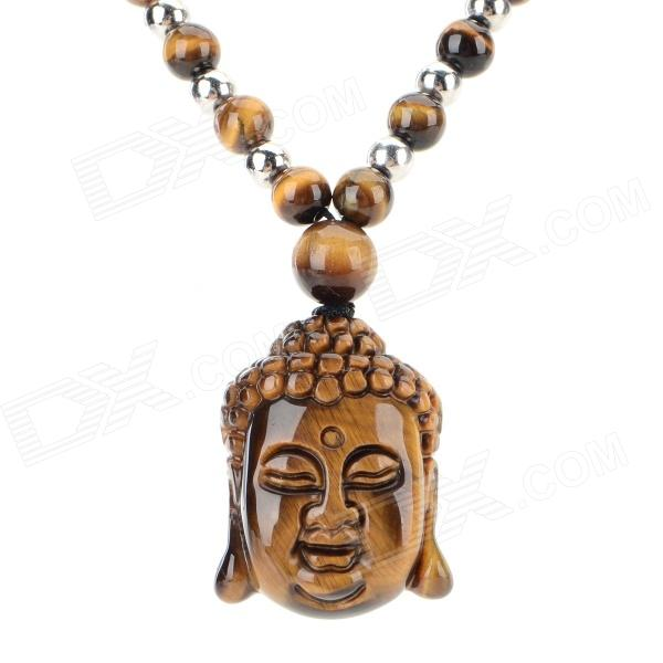 FenLu HYSFT Buddha Head Shaped Tiger's Eye Beads Pendant Necklace - Brown + Black + Multi-Color punk eye shaped pendant women men s necklace