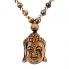 FenLu HYSFT Buddha Head Shaped Tiger's Eye Beads Pendant Necklace - Brown + Black + Multi-Color