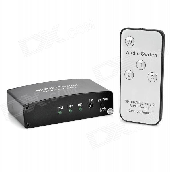 3 In 1 Out Toslink Optical Digital Audio to Analog Switcher - Black + White digital audio optical fiber cable toslink 3 way selector switch splitter adapter bi directional dolby hdtv blu ray dvd player