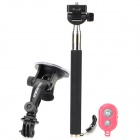 DULISIMAI 4-in-1 Car Suction Cup + Monopod + Mount Base + Bluetooth Self Timer Set - Black + Red