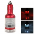 WlSE TlGER WT-CR3005 Emergency Survival Dual USB Port Car Charger w/ LED + Hammer - Red + White