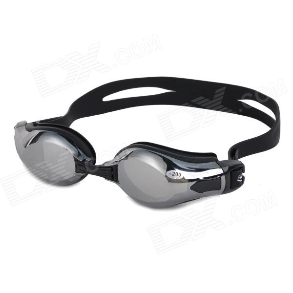 WIN.MAX WMB53757 Men's Mercury Plated Frame PC Lens -2.0 Diopters Myopia Swimming Goggles - Black