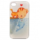 Color Painted Cat Kiss Fish Pattern Ultrathin Shockproof Protective Back Case for IPHONE 4 / 4S