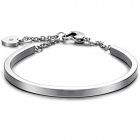 Women's Fashionable Stainless Steel Bangle Bracelet - Silver