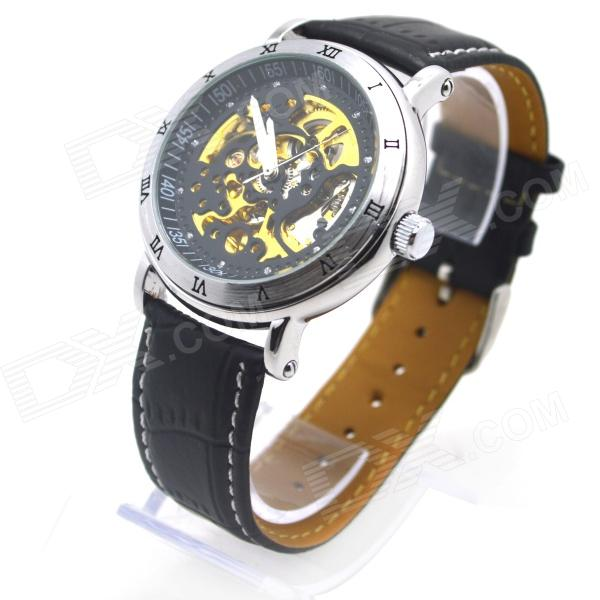 Shenhua 9584M Men's Skeleton PU Band Automatic Mechanical Analog Wrist Watch - Black + Silver