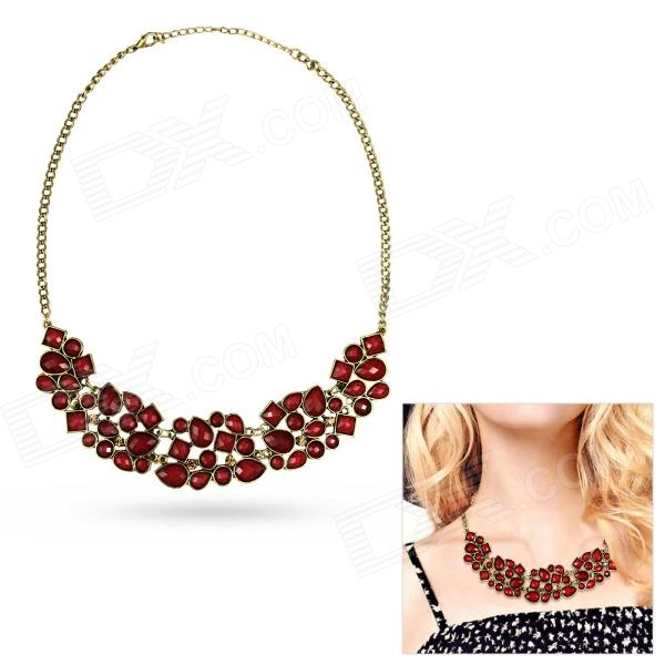 eQute PPEW31C4 Womens Classy Retro Style Zinc Alloy + Acrylic Pendant Necklace - Dark Red - DXNecklaces<br>Color Red Brand eQute Model PPEW31C4 Quantity 1 Piece Shade Of Color Red Gender Women Suitable for Adults Chain Material Zinc alloy Pendant Material Acrylic Chain Length 55 cm Chain Width 3.5 cm Packing List 1 x Necklace<br>