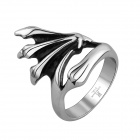 R017 Creative Personalized Retro Stainless Steel Ring - Silver + Black (US Size: 8)