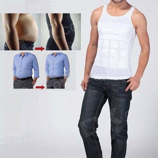 NEJE Men's Body Belly Waist Girdle Slimming Tummy Shaper Vest - White (XL) electric beauty body slimming and lipoid fat massaging massager is powerful vibratory body and slimming machine
