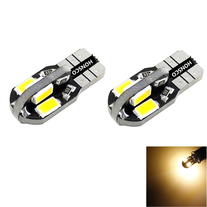HONSCO T10 2W 100lm 3000K 8x5730 SMD LED Warm White Dome Side Marker License Bulb (2PCS/DC 12V) t10 led lights w5w auto wedge license plate bulbs turn signal marker led lamps warm white 20smd 3020 1206 dome 12v 194 168 10pcs