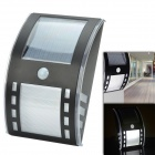 CMI 5W 12V 40lm 6000K 3-LED Motion Control Waterproof White Light Solar Wall Lamp - Black