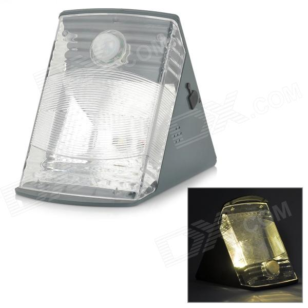 Solar Powered 1W 100lm 3000K LED Warm White Human Body Induction Outdoor Wall Lamp - Grey (3.7V)
