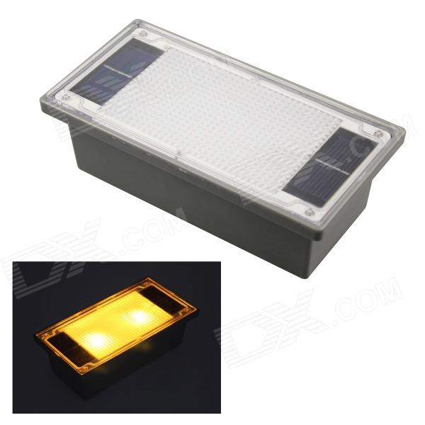 Solar Powered 2-LED Yellow Outdoor Garden Pathway Recessed Brick Light