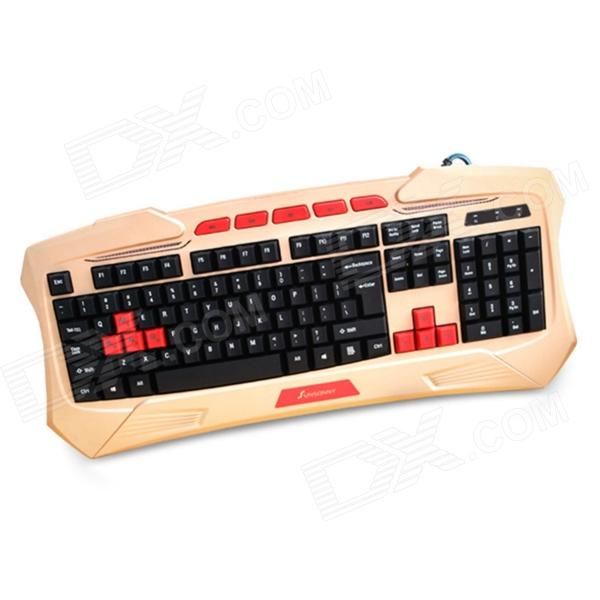 Sunsonny SK-V95 Platinum Edition Blue LED Backlit USB Wired Waterproof Keyboard - Red + Golden eset nod32 антивирус platinum edition 3 пк 2 года