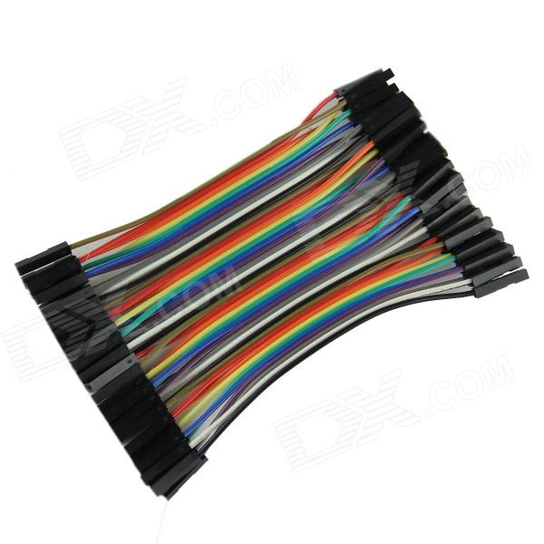 DIY Female to Female DuPont Breadboard Jumper Wires - Black + Multi-color (40 PCS / 10cm) diy female to female dupont breadboard jumper wires black multi color 40 pcs 10cm
