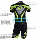 NUCKILY MA005MB005 Men's Cycling Short Sleeves Jersey Clothes + Pants Set - Green + Black (M)