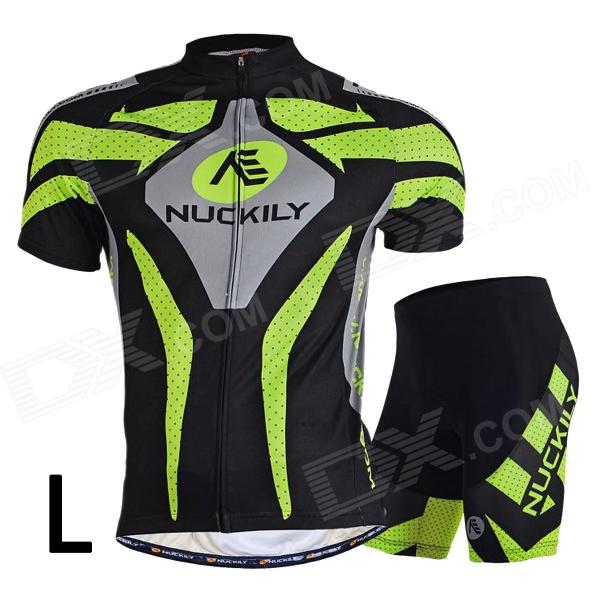 NUCKILY MA005MB005 Mens Cycling Short Sleeves Jersey Clothes + Pants Set - Green + Black (L)Form ColorGreen + BlackSizeLBrandNUCKILYModelMA005MB005Quantity1 DX.PCM.Model.AttributeModel.UnitMaterialTop: 100% polyester; Pants: 80% polyamid + 20% spandexGenderMensSeasonsSpring and SummerShoulder Width44 DX.PCM.Model.AttributeModel.UnitChest Girth107 DX.PCM.Model.AttributeModel.UnitSleeve Length24 DX.PCM.Model.AttributeModel.UnitTotal Length66 DX.PCM.Model.AttributeModel.UnitWaist65 DX.PCM.Model.AttributeModel.UnitTotal Length43 DX.PCM.Model.AttributeModel.UnitLength Of Hem43 DX.PCM.Model.AttributeModel.UnitSuitable for Height168~173 DX.PCM.Model.AttributeModel.UnitBest UseCyclingTypeShort Pants,Short JerseysPacking List1 x Jersey suit<br>