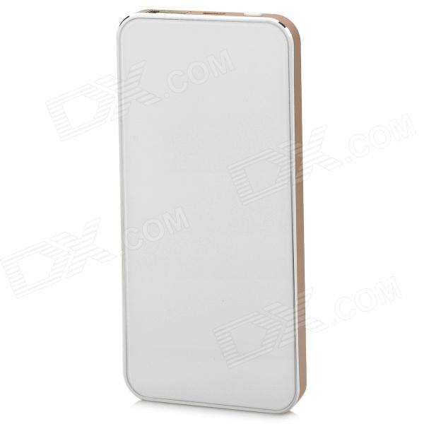 Ultrathin 5200mAh Li-polymer Battery Mobile Power Bank for Samsung, HTC, Sony - Champagne + White lassie l7 10000mah usb li polymer battery mobile power bank white