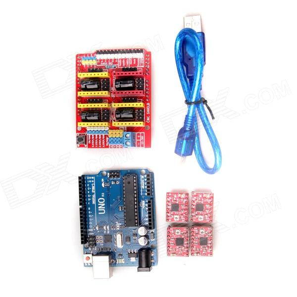 3D Printer Kit CNC Shield V3 + UNO R3 Expansion Board + A4988 Stepper Motor Drive - Deep Blue funduino 3d0073 fr4 expansion board 4 stepper motor drives funduino uno r3 board kit for arduino
