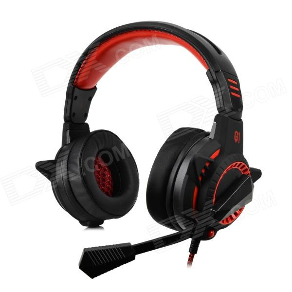 Bingle G1 3.5mm Wired Headband Headphone w/ Microphone / Remote - Black + Red 1more super bass headphones black and red