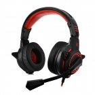 Bingle G1 3.5mm Wired Headband Headphone w/ Microphone / Remote - Black + Red