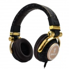 Bingle i365 3.5mm Wired Headband Headphone w/ Microphone - Black + Golden
