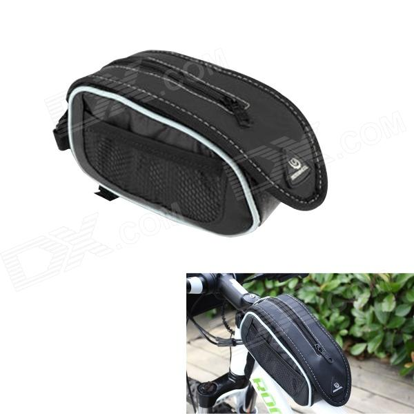 Roswheel Crocodile Pattern Cycling Bike Bicycle Top Tube Bag - Black + White roswheel 12659 waterproof cycling bicycle pu top tube double storage bag black