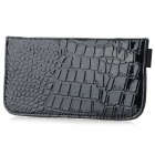 Crocodile Pattern Anti-radiation Signal Shielding Protective PU Bag Case for Mobile Phone - Black