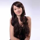 Capless Extra Long Curly Synthetic Hair Wig - Brown