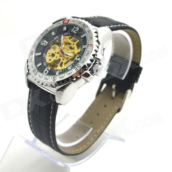 Shenhua 9501 Men's Skeleton PU Band Automatic Mechanical Analog Wrist Watch - Black + Silver