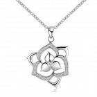 Women's Fashionable Silver Plated Brass Flower Pendant Necklace - Silver