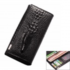 Fashionable Crocodile Pattern Long Split Leather Wallet Purse for Women - Black