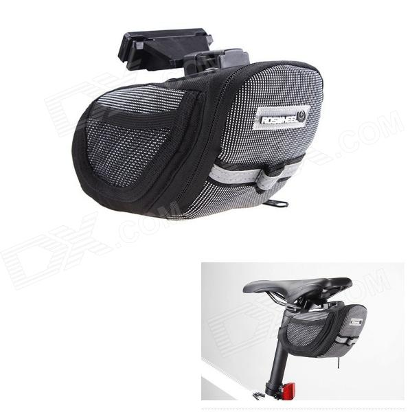 ROSWHEEL 600D Polyester + PU Cycling Bicycle Saddle Seat Tail Bag - Black + Grey
