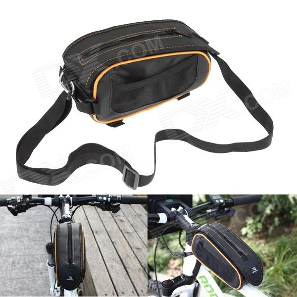 Roswheel Crocodile Pattern Cycling Bike Bicycle Top Tube Bag - Black + Orange roswheel 12659 waterproof cycling bicycle pu top tube double storage bag black
