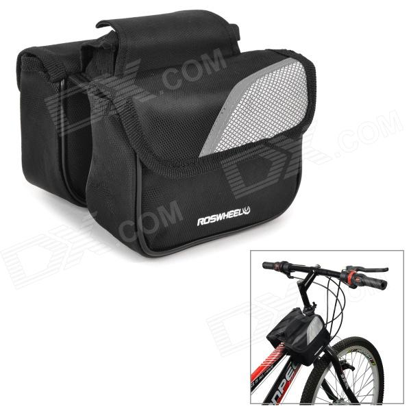 ROSWHEEL 12695 Bike Bicycle Frame Top Tube Polyester Double Bag - Black + Grey roswheel 12659 waterproof cycling bicycle pu top tube double storage bag black