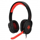 Bingle G830 Wolf Pattern 3.5mm Wired Headband Headphone w/ Microphone / Remote - Black + Red