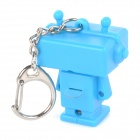 Estilo Robot Keychain w / White LED Light + Sound Effect - Azul (3 x AG10)